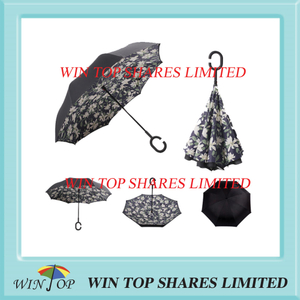 Lily printing inverted Umbrella from parasol supplier