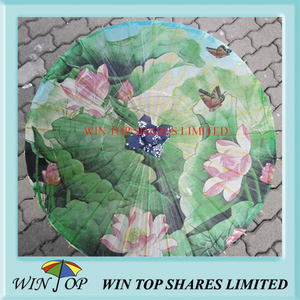 Lotus and butterfly model oil painting umbrella
