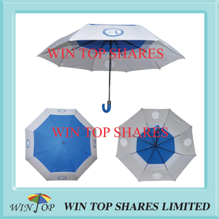 "27"" navy blue and white 2 folds windproof Golf Umbrella"