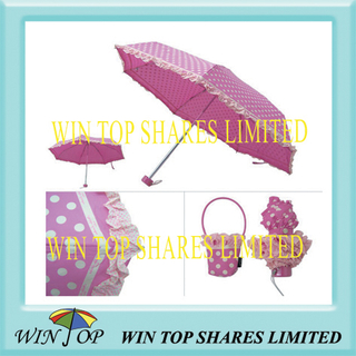 "19.5"" 5 Fold Printed Umbrella with Lace"