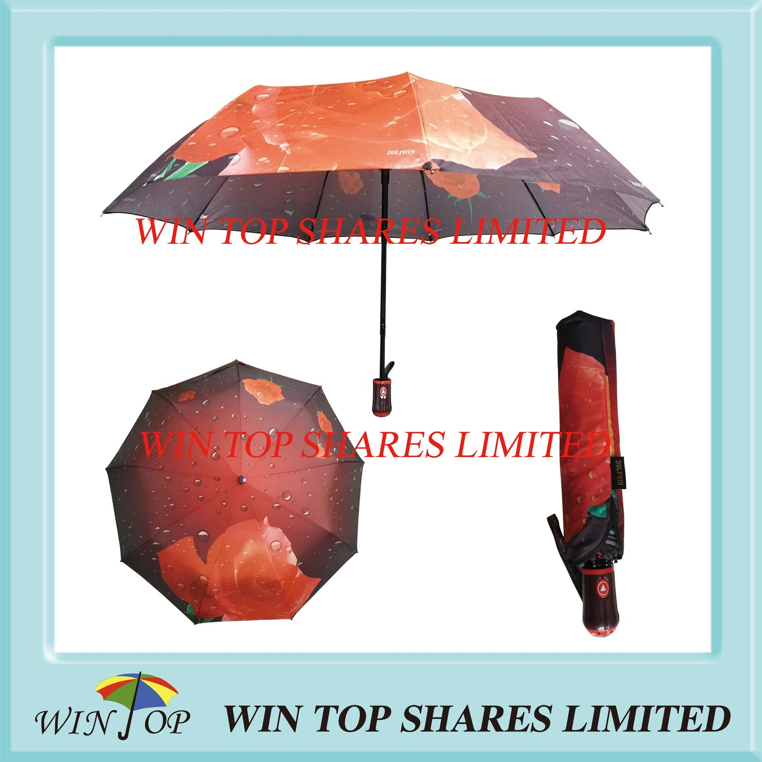"23"" Auto Open Strong Windproof Satin Sublimation Umbrella"