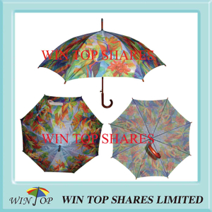 Nature Plant Hot Transfer Printing Wooden Umbrella (WT1073)