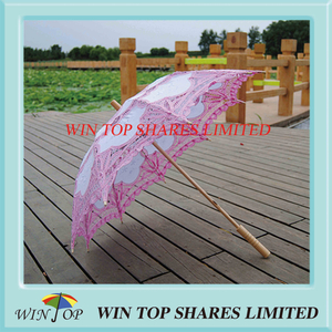 China style pink and white craft umbrella