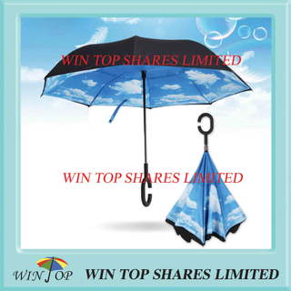 Blue Sky 2 layers windproof reverse Umbrella from umbrella factory