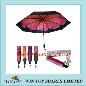 UVA UVB proof rainproof 3 Folding Pink Rose Umbrella