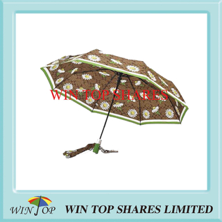 3 Folding Auto Flowers Printed Umbrella Supplier
