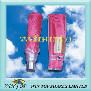"21"" 3 Fold Red UV Umbrella"