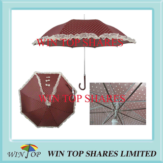 Auto Stick Brown Pricess Lace Umbrella with Print