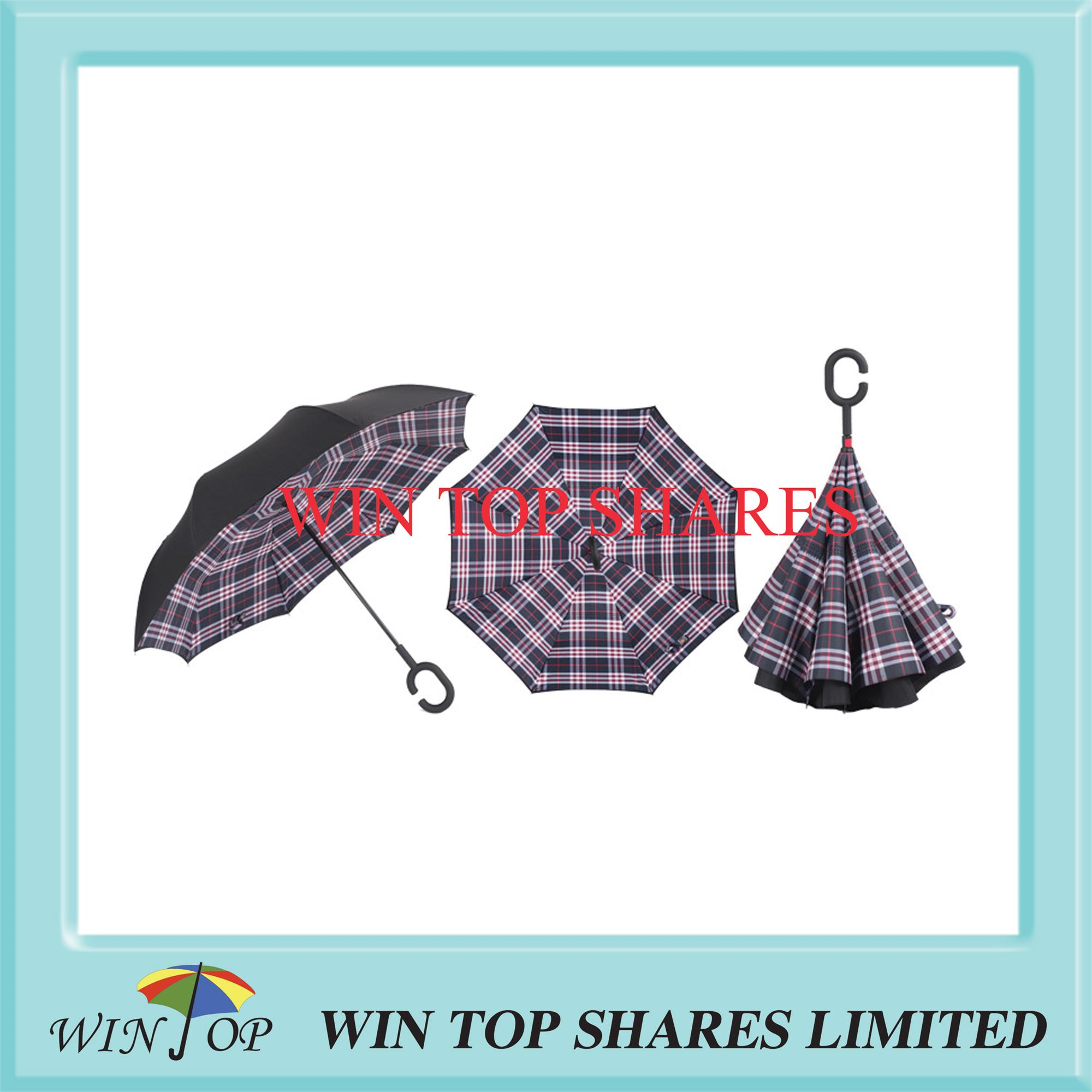 New Scotland red and black check reverse umbrella