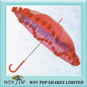 "23"" Ladies PVC Umbrella with Pasted Flower"