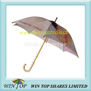 "23"" Manual Wooden Picture Photo Umbrella"