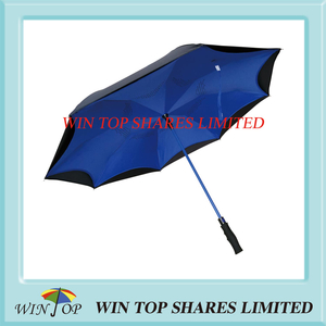 Navy blue windproof auto open Reversed Car Umbrella