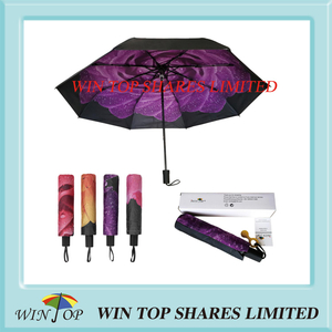 UV Resistant 3 Folded Purple Rose Sun Umbrella