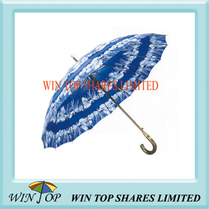 "23"" Auto Straight Wooden Frame Printed Umbrella"