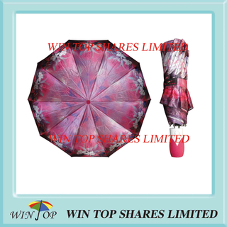 Auto Open and Close Printed Satin Ladies Umbrella