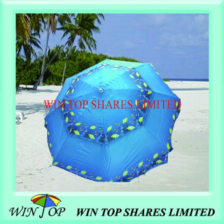 Polyester Printed Beach Umbrella with 2 Layers