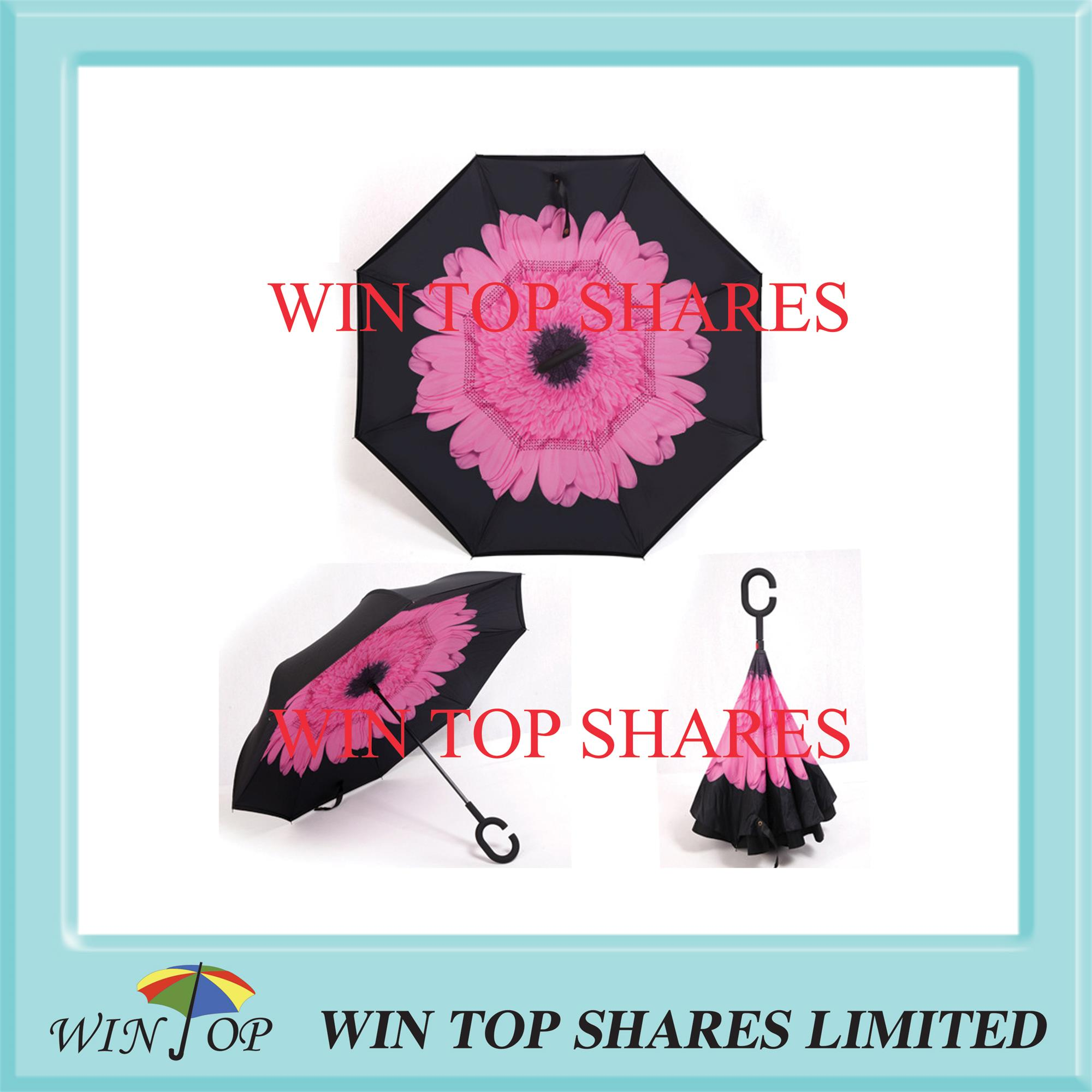 Pink Peach flower reversed manual car umbrella
