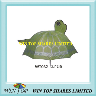 Green Turtle Design Cartoon Kid Parasol