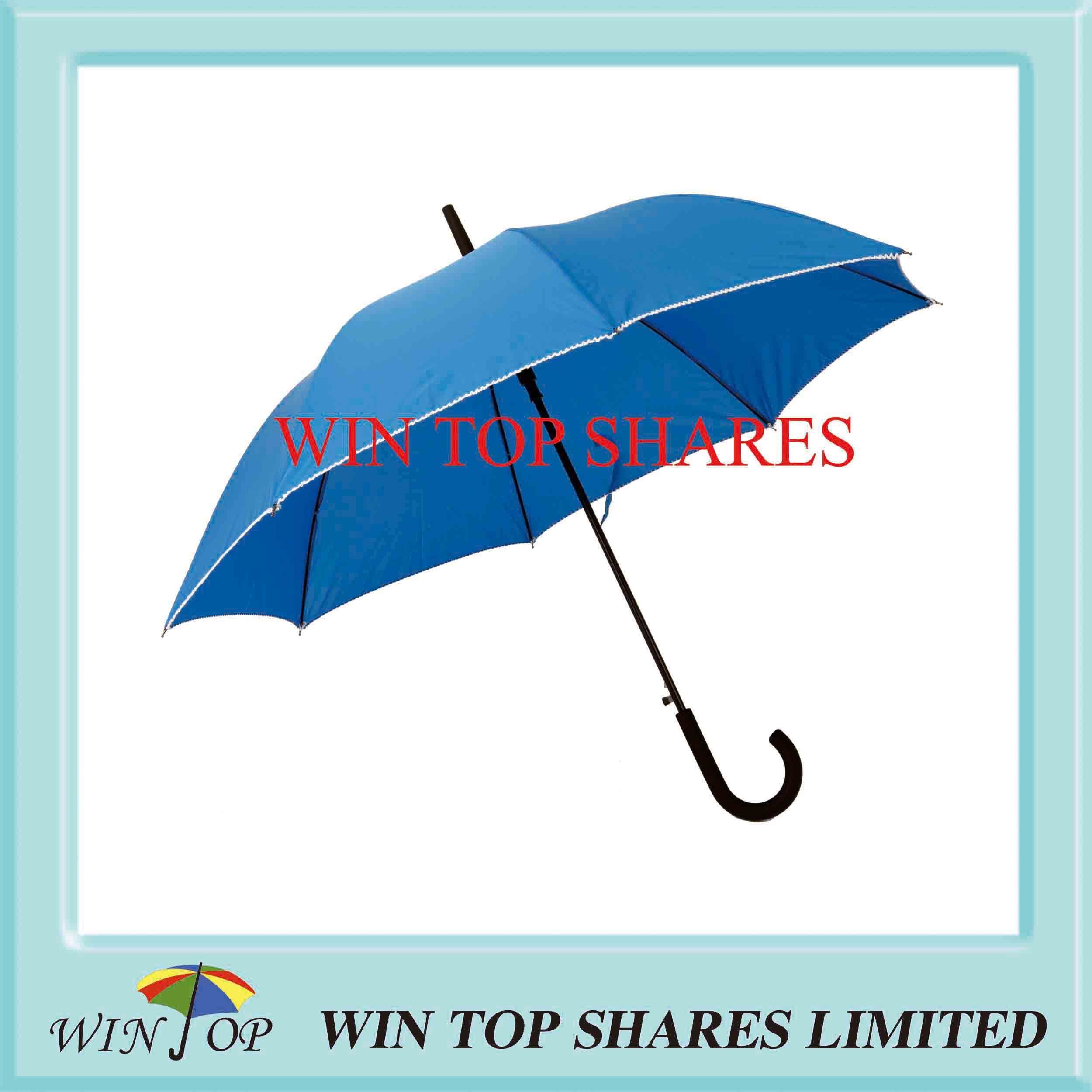 Scrolling and Piping Black Frame Blue Cover Umbrella