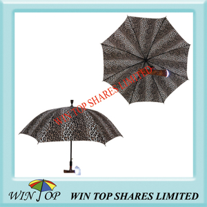 Leopard design LED Stick Umbrella with Radio and Alarm Function