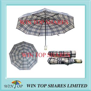 Metallic gold pongee UK Burberry style AOC umbrella