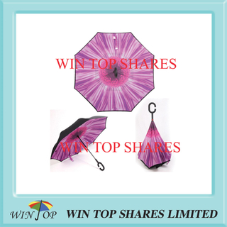 Peach flower stylish best quality invertile car umbrella